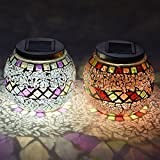 Lightshare MSKZH Mosaic Solar Jar Combo with Warm White and Color-changing, 5-Inch, Multi-color, Set of 2