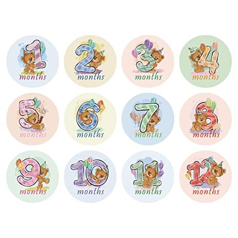 Zhangyo 12 Unids Mes Etiqueta Engomada del Bebé Hito ...