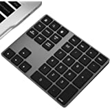 Wireless Numeric Keypad, JOYEKY Aluminum BT Number Pad 34-Keys External Number Keyboard Shortcut Keypad Data Entry Compatible iMac, MacBook Air, MacBook Pro, MacBook, and Mac Mini etc (Black)