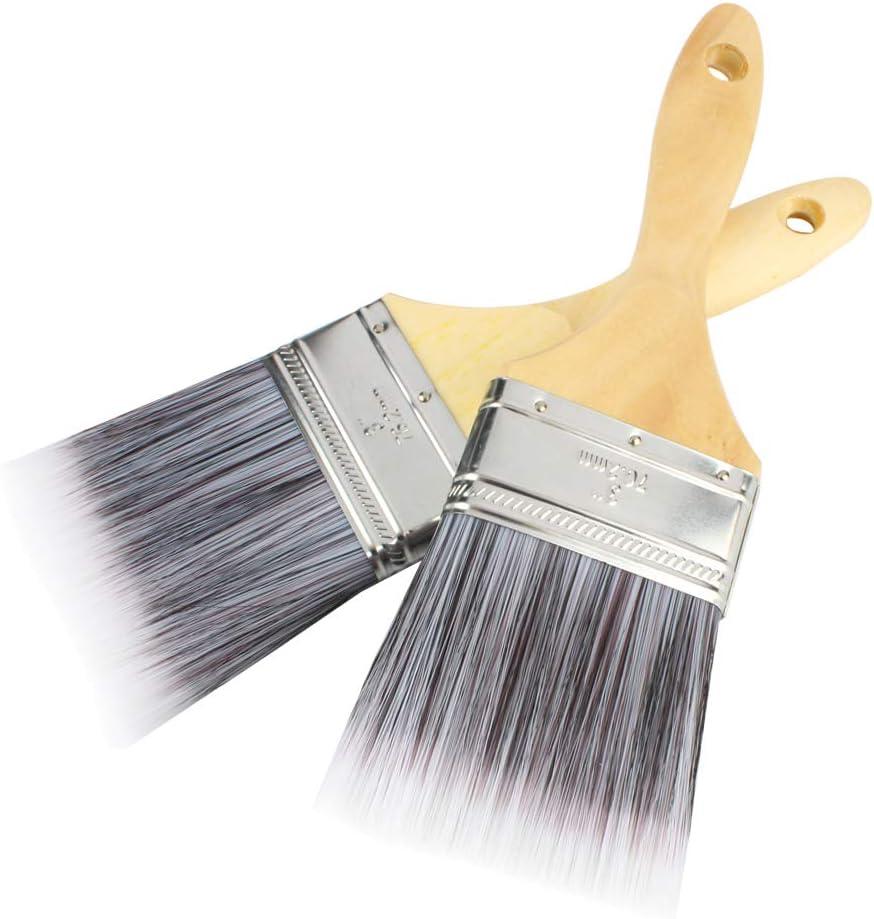 Andux Zone Brocha de pintura de 3inch 2piezas para cubiertas de gabinete Cercas Interior Exterior y Brocha Comercial YXS-01