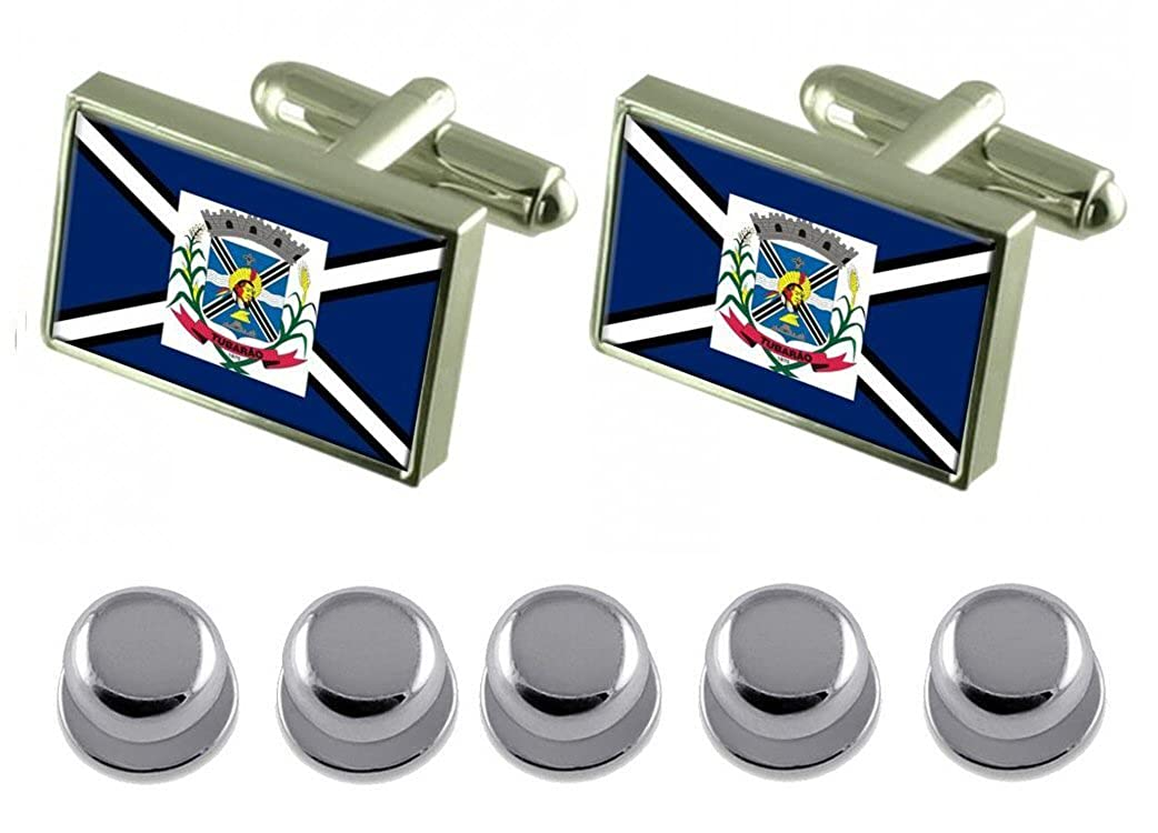 Select Gifts Shirt Dress Studs Tubarao City Santa Catarina State Flag Cufflinks