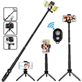 Selfile Stick Tripod, Extendable Bluetooth Selfile Stick Tripod with Wireless Remote Portable Monopod Bluetooth Stick Selfie with Tripod Stand for iPhone/Samsung/Android Phones/Digital Cameras/GoPro