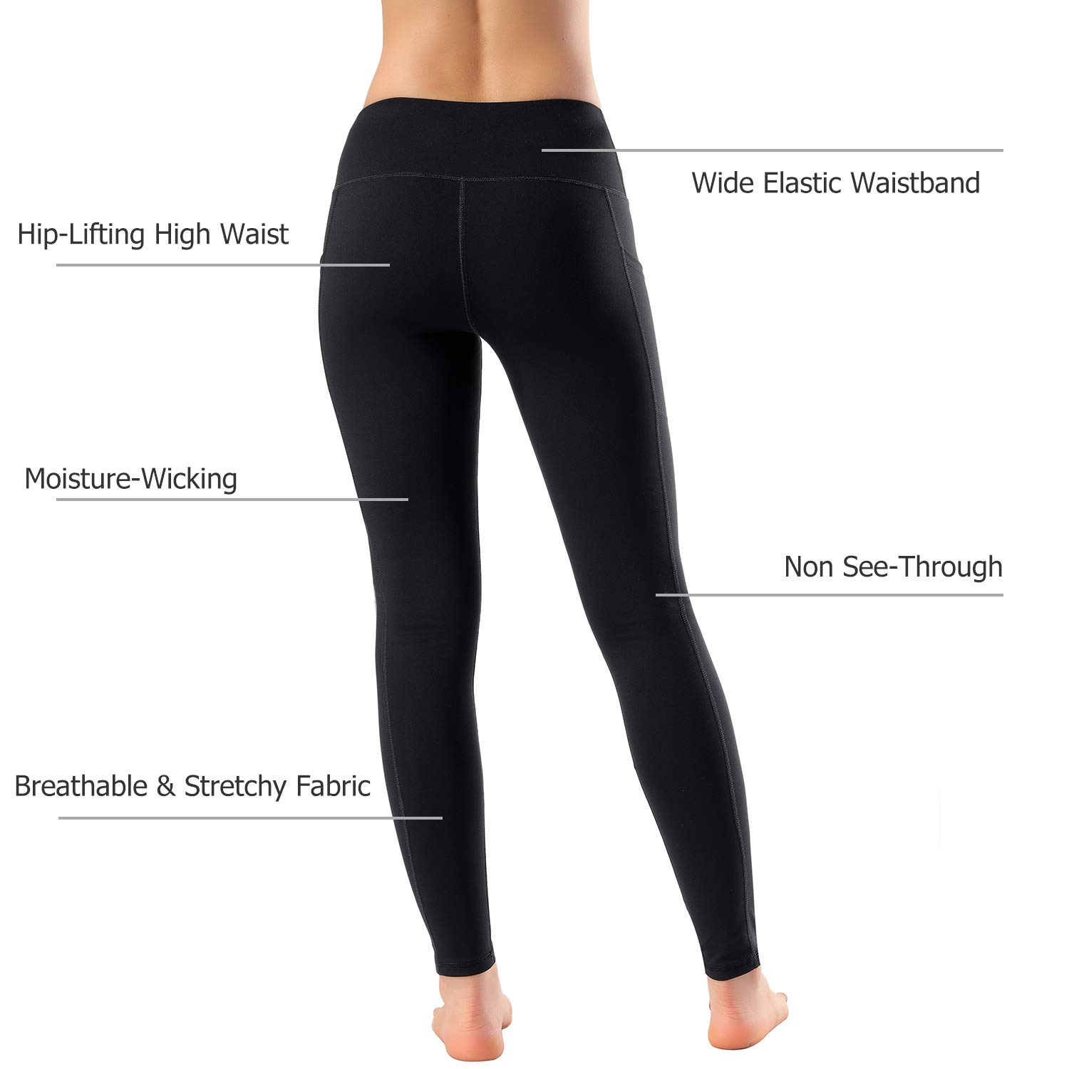 Women's High Waist Yoga Pants with Side Pockets & Inner Pocket Tummy Control Workout Running 4-Way Stretch Sports Leggings, Medium by HOFI (Image #6)