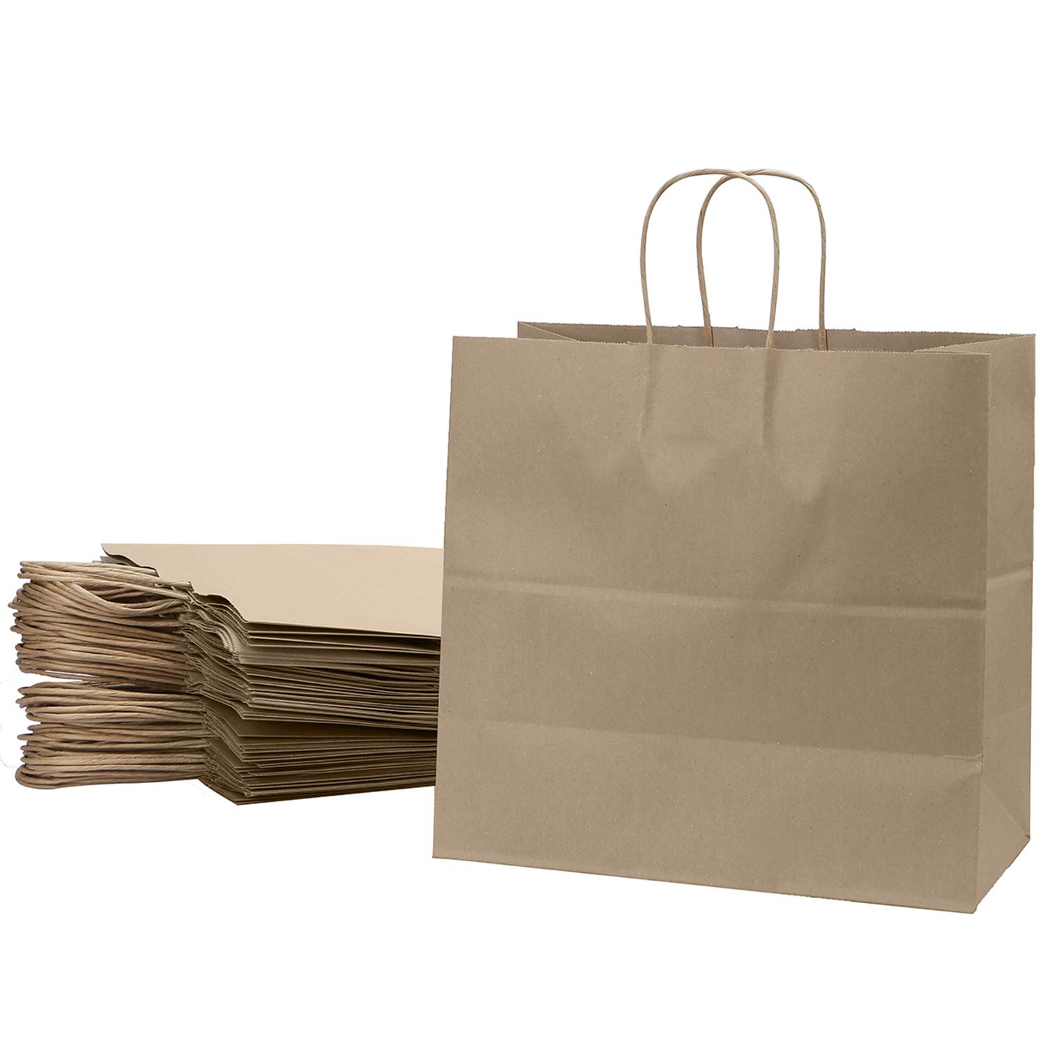 Kraft Paper Bags Restaurant Take Out Bags with Handles Gift Grocery Party Merchandise Bag (13
