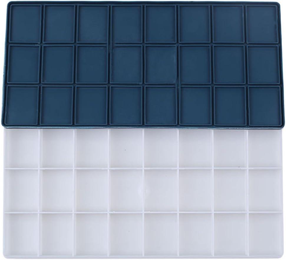 Healifty Caja de paleta de pintura plástica 24 grandes pozos profundos herméticos para acuarelas