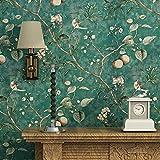 Blooming Wall Vintage Flower Trees Birds Wallpaper for Livingroom...