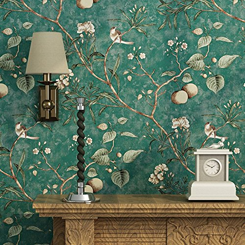 Blooming Wall Vintage Flower Trees Birds Wallpaper for Livingroom Bedroom Kitchen,57 Square Ft,Emerald Green (Emerald Green)