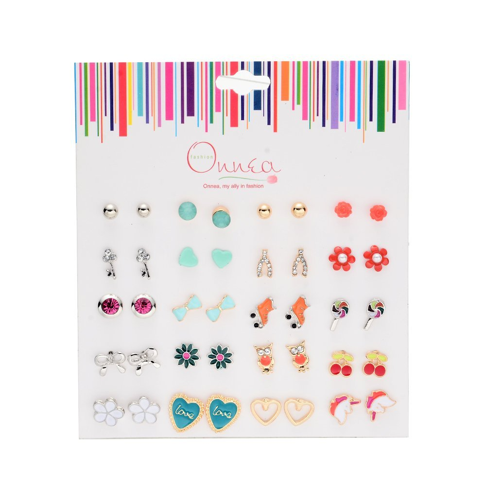 15 Pairs Resin Mix Emoji Ball Crystal Stud Earrings Set for Girls Summer Bensoco E-0394-0395