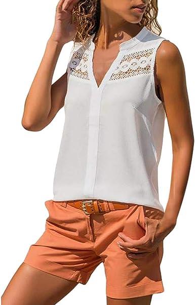 wyxhkj Camiseta Mujer Sin Manga Chaleco para Mujer Encaje Cuello En V Color Sólido Diseño Informal De Verano Camisa para Mujer Verano: Amazon.es: Ropa y accesorios