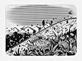 Lunarable Black and White Bath Mat, Lawn Mountain Flower Worker Bees Fly on Flowers Countryside Illustration, Plush Bathroom Decor Mat with Non Slip Backing, 29.5 W X 17.5 W Inches, Black White
