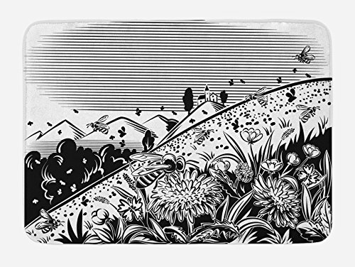 Lunarable Black and White Bath Mat, Lawn Mountain Flower Worker Bees Fly on Flowers Countryside Illustration, Plush Bathroom Decor Mat with Non Slip Backing, 29.5 W X 17.5 W Inches, Black White by Lunarable (Image #2)