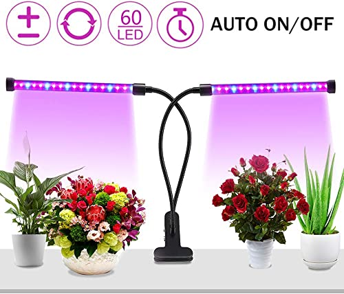 LED Grow Light for Indoor Plant, Upgraded Full Spectrum Plant Light with Replaceable Bulb,Dual Head Plant Grow Lamp with Flexible Gooseneck 20W Red Blue Full Spectrum
