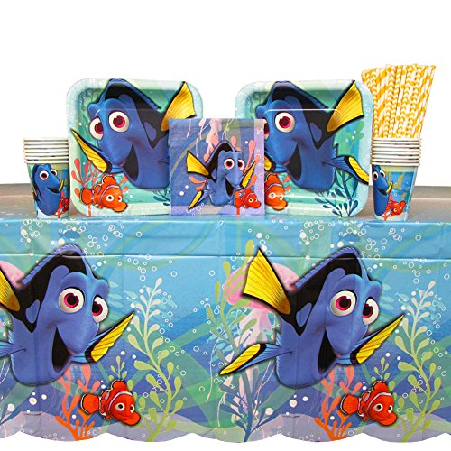Finding Dory Birthday Party Supplies Pack for 16 Guests | Straws, 16 Dinner Plates, 16 Luncheon Napkins, 16 Cups, and Table Cover | Celebrate Your Little One's Birthday with Nemo, Marlin, and Dory! ()