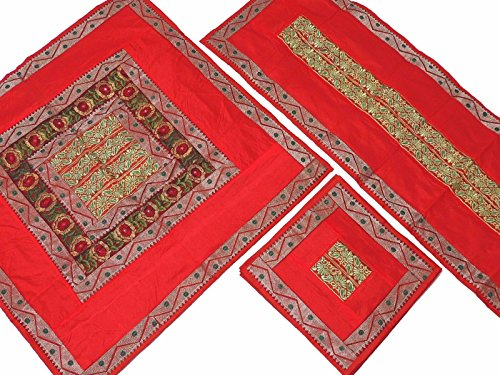 NovaHaat Red Pretty Embroidered Tablecloth, Table Runner and 4 Placemats Set in Dupioni Art Silk from India ~ Tablecloth - 40 Inch, Runner - 60 Inch x 20 Inch, Placemats ()