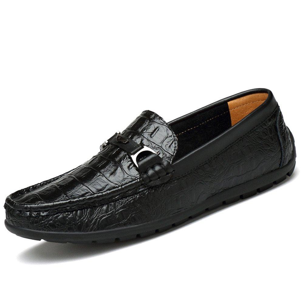 Mocasines Hombre Patrón de Cocodrilo Casual Zapatos Slip on Conducción Viajar Vendimia 37 EU|Negro