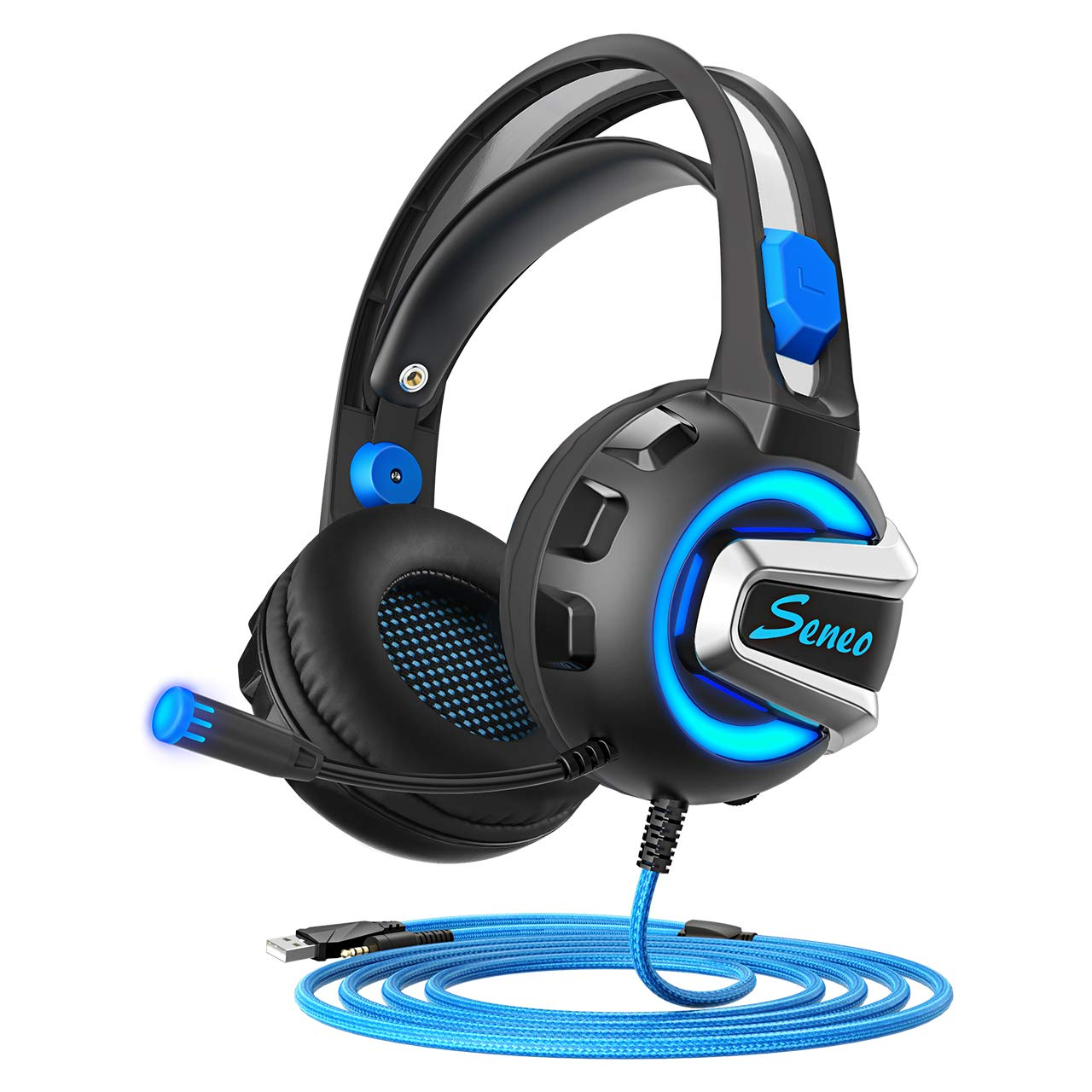 Seneo Gaming Headset, PC, Xbox One, PS4 Headset with Mic, 50mm Speaker Drivers, 3D Surround Sound, Soft Memory Foam LED Light Over-Ear Gaming Headphones for Nintendo Switch, Mobiles