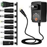 Belker 36W Universal 3V 4.5V 5V 6V 7.5V 9V 12V AC DC Adapter Power Supply for LCD LED Light Strip Router HUB Speaker Smart Phone Tablet Kindle and Echo Dot TV Box 1A 1.5A 2A 2.5A 3A 3000mA Amp Max.