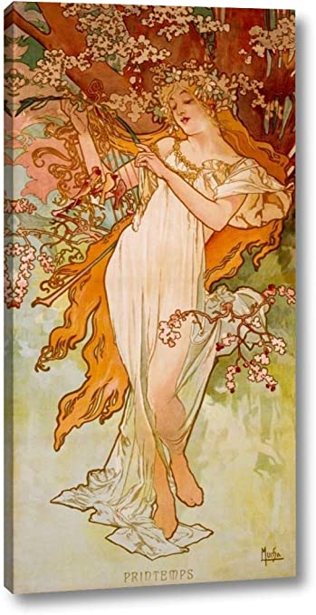 Alphonse Mucha Spring Glasschale 16x30cm Platte Frühling