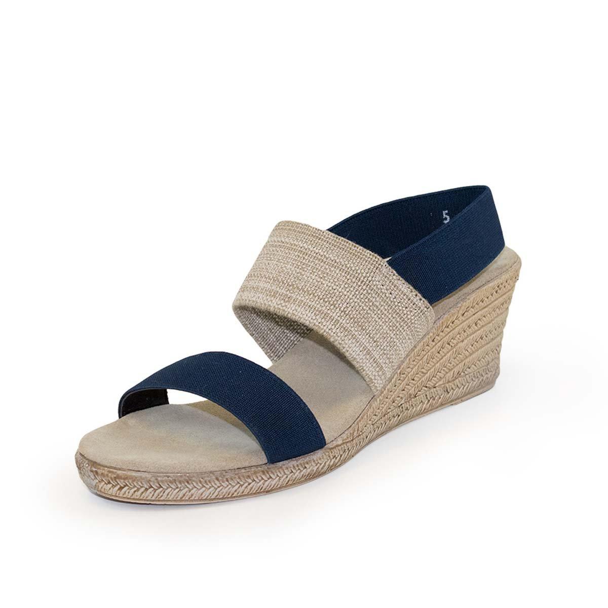 Cooper Sling-Back Espadrille Wedge Sandal by Charleston Shoe Co. B07DRJF9F7 8 B(M) US|Navy