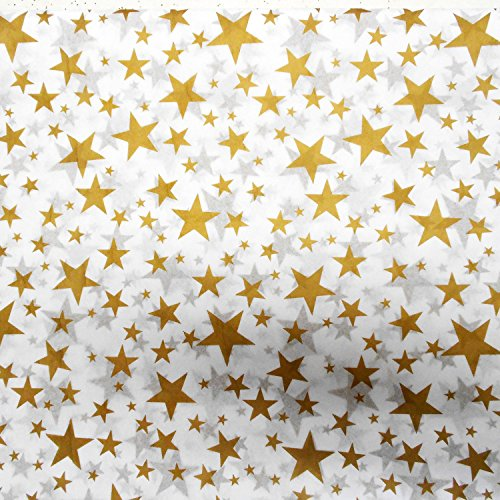 Gold Metallic Tissue Paper (50 Sheets, Larger Gold Stars Value Paper) by Adornments Shoppe