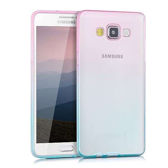 kwmobile Funda para Samsung Galaxy A5 (2015) - Carcasa para móvil de TPU con diseño Bicolor - Rosa Fucsia/Azul Mate