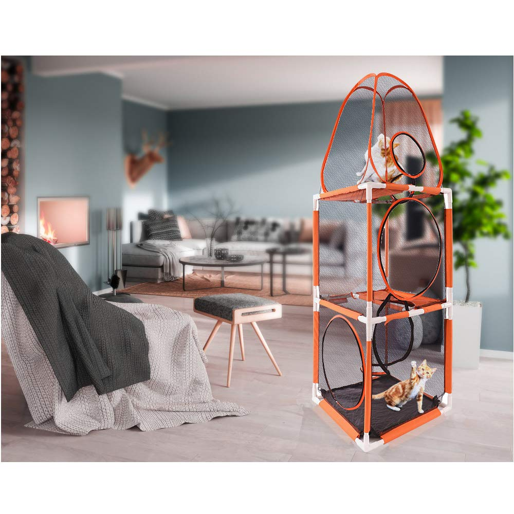 DAPU 3 in 1 Compound Pet Play House 3-Levels of Jumping Tower /& Hexagon Tent /& 1 Tunnel,Pop Up Folding Enclosure Playpens,for Cat,Kitty,Dog,Puppy,Rabbit