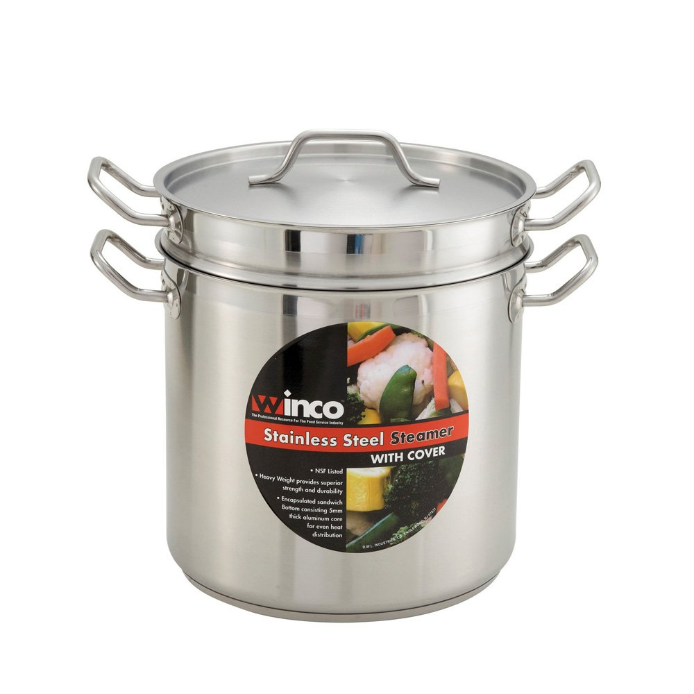 "Winco SSDB-8S, 8-Quart 9-1/2"" x 6-3/4"" x 7-1/2"" Commercial Grade Stainless Steel Steamer and Pasta Cooker With Cover, Double Boiler with Lid, NSF"
