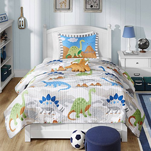 4 Piece Kids Blue Green Grey Orange White Full Queen Coverlet Set, Dinosaur Themed Bedding Volcano Jurassic Dino Cartoon Cute Adorable Fun Gray Animal Mountain, Polyester by D&A
