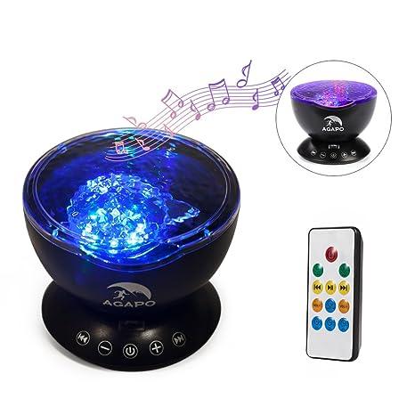 Agapo Luz de Océano Proyector,Lámpara Proyector LED 7 Modos Luz Proyector Romántica con Mando a Distancia Música para Niños Adultos Habitación Sala ...