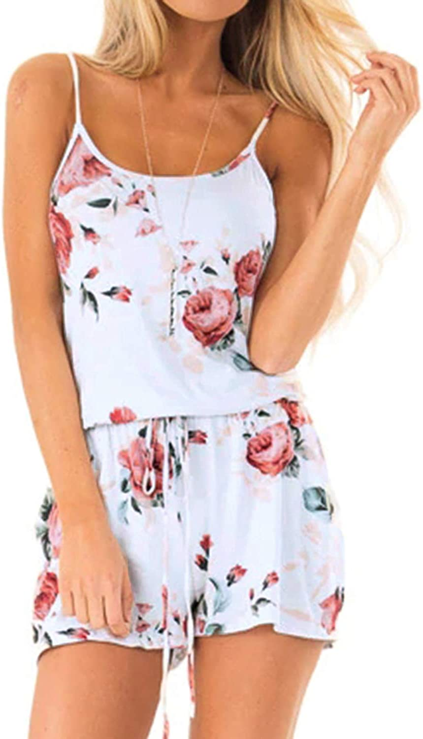 ACHIOOWA Women Jumpsuit Floral Print Playsuit Sleeveless Spaghetti Strap Short Jumpsuit Rompers with Belt Round Neck Casual Jumpsuit Summer Beach Playsuit