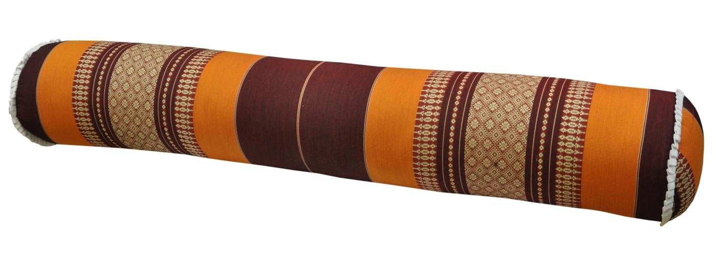 Thai cushion round bolster, pillow, sofa, imported from Thaïland, brown/orange, relaxation, beach, pool, meditation garden (81112)