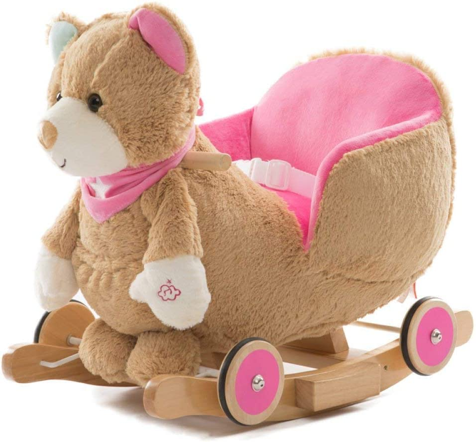 Caballo de oscilación de madera 2 en 1 felpa con la rueda del niño del bebé for 1-4years Los niños y niñas lindo del niño del asiento del animal relleno del Presidente del niño Rocker Rocker asiento b