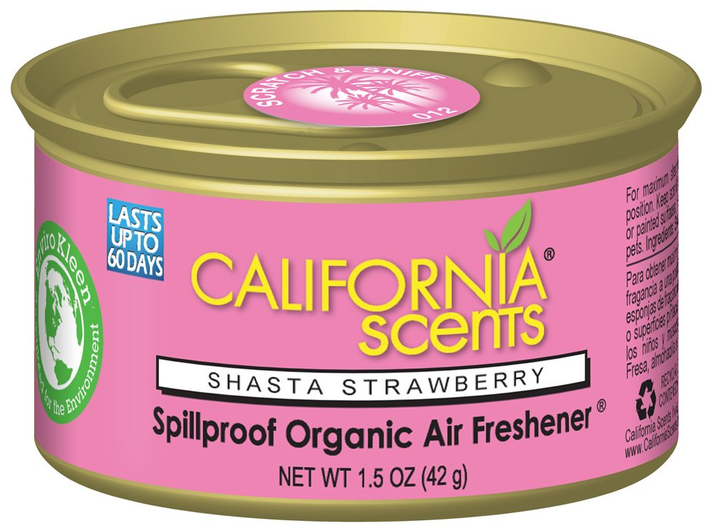 California Scents Spillproof Can Air Freshener Eco-Friendly Odor Neutralizer for Home, Car, Much More, Shasta Strawberry, 1.5 oz, 12 Pack by California Scents