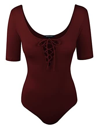 48d8cc66ad makeitmint Women s Solid Elbow Sleeve Scoop Neck Lace Up Bodysuit w Snap  YOB0017-BURGUNDY