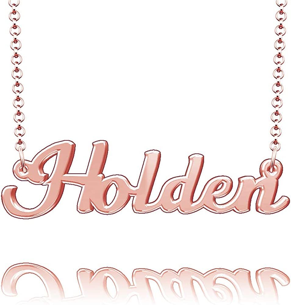 LoEnMe Jewelry Spurlock Name Necklace Sterling Silver Plated Custom Made of Last Name Personalized Gift for Family