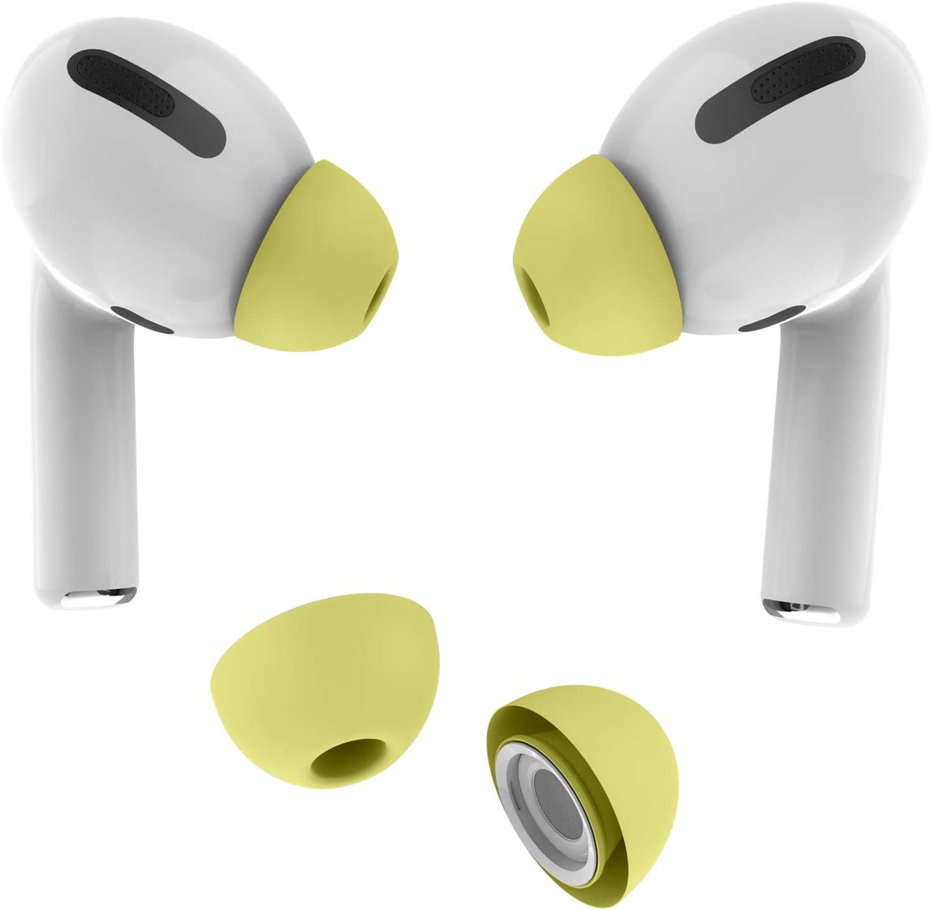 Allbingo Ear Tips Compatible with Airpods Pro, 2 Pairs Silicone Anti-Slip Replacement Earbuds Cover Accessories Small Medium Large Compatible for Apple AirPods Pro (Large, Yellow)
