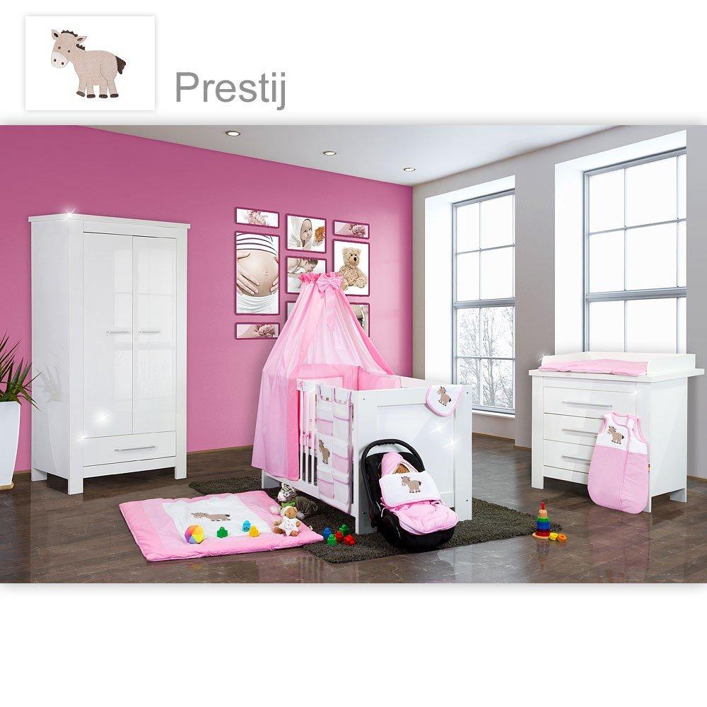 Babyzimmer Enni Hochglanz 21-tlg. mit 2 türigem Kl. + Textilien Prestij, Rosa