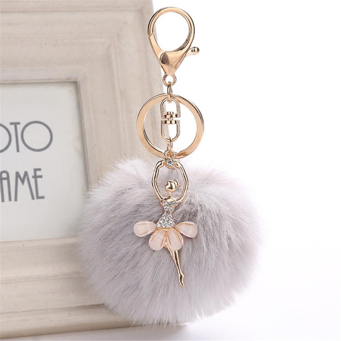 BZLine/® 8CM Mignon Danse Ange Porte-cl/és Femmes Porte-cl/és Porte Pompons Porte-cl/és Fluffy Pom Bag Pendentif