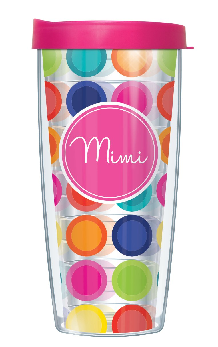 Mimi On Happy Circles Clear Wrap Traveler 16 Oz Tumbler Cup with Pink Lid