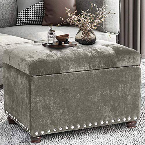 Decent Home Tufted Storage Ottoman Velvet Foot Rest Stool with Nailhead Trim Light Grey