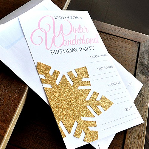 Pink and Gold Blank Winter Wonderland Invitations and Envelopes. Set of 5. Premium Printed Wording and No-Shed, Real Glitter Snowflake Embellished Invites with White Easy-Seal Envelopes Included. for $<!--$14.99-->