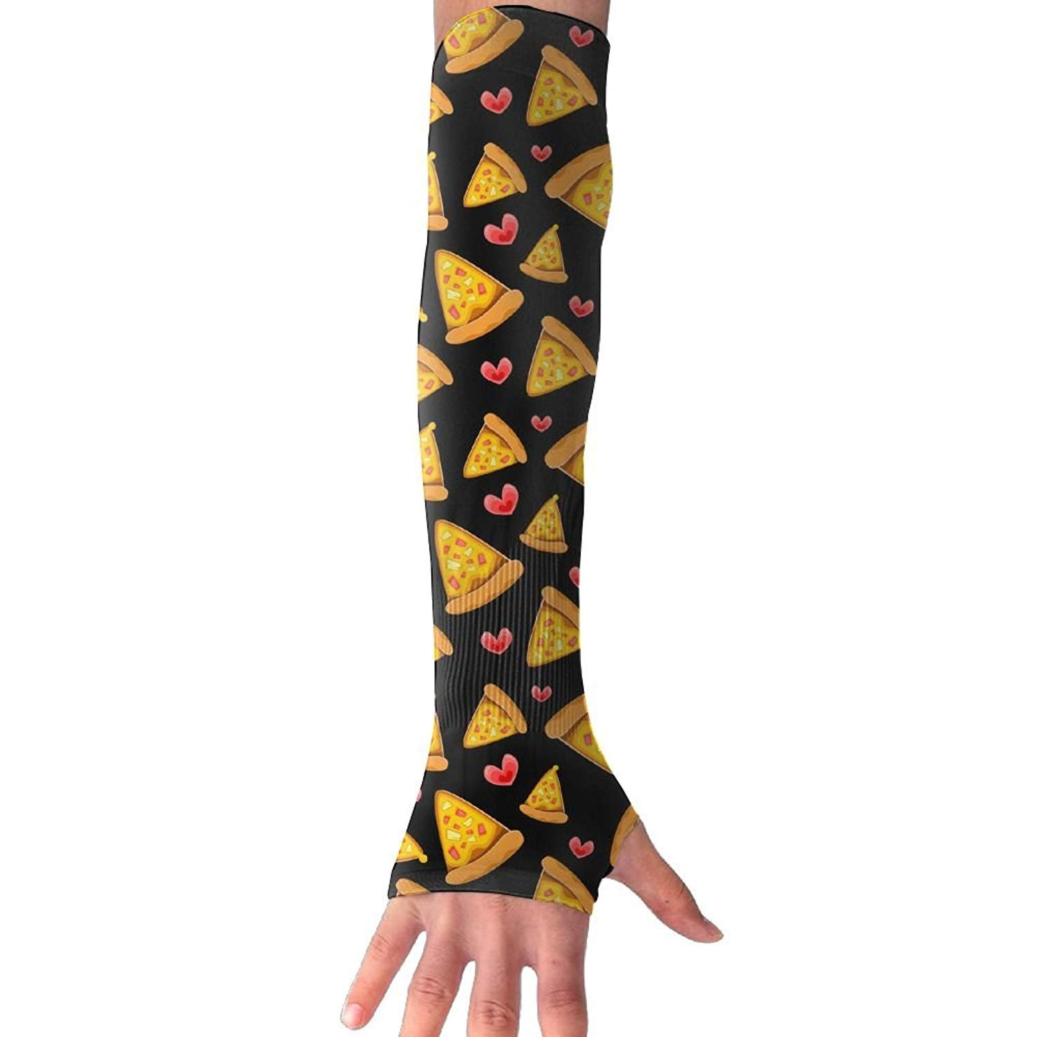 Unisex Cute Pizza Heart Sunscreen Outdoor Travel Arm Warmer Long Sleeves Glove
