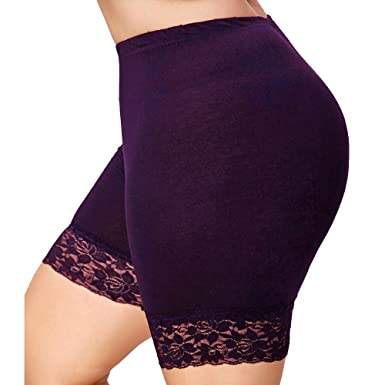 d73d1371683 JJLIKER Womens Lace Shorts Skirts Safety Pants Stretchy Workout Athletic  Yoga Underwear Girls Skinny Leggings Plus