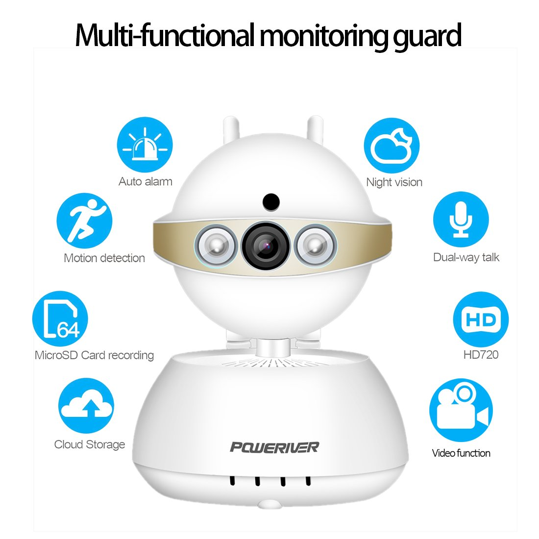 Baby Monitor, POWERIVER 720P Security Camera Home Surveillance System Two Way Audio and Night Vision for Wifi/IP/Pet/Video Camera(Gold)