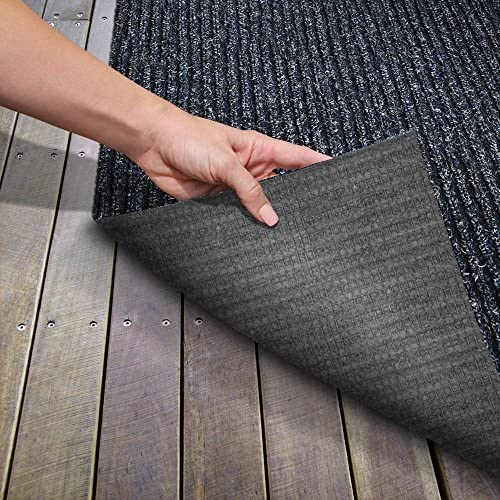 House, Home and More Heavy-Duty Ribbed Indoor Outdoor Carpet with Rubber Marine Backing – Stormy Blue – 6 Feet X 30 Feet