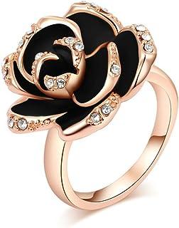 Onefeart Rose Plaqué Or Anneaux Pour Filles Femmes Bande de Mariage Blanc Cristal Rose 2CMx1.8CM Taille 49-60