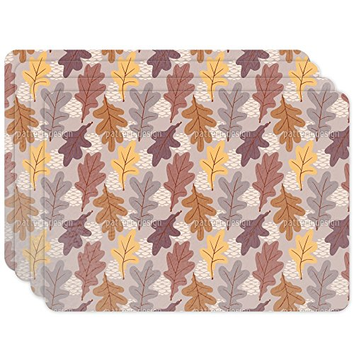Personalized Oak Leaf Mat (Oak Leaves Placemat Set of 4 Vinyl Easy Clean Heat Insulation)