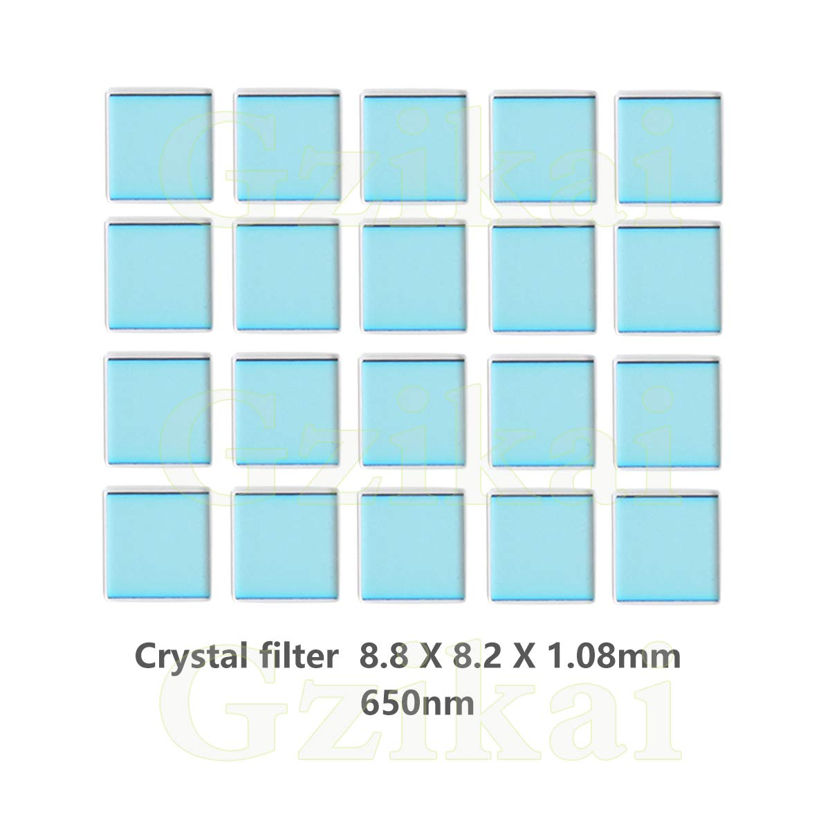 Gzikai 20pcs/1 Lot 8.8mm×8.2mm×1.08mm 650nm IR-Cut Blocking Filter Square Optical Low-Pass Infrared Block Filters for Camera Lens by Gzikai