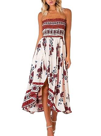 61a05f4e481 Winfon Femme Robe d été Chic Robe été Imprimé Floral Sexy Boho Épaules Nue  Robe Bustier Plage Longue  Amazon.fr  Vêtements et accessoires