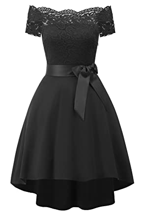Avril Dress Womens Off Shoulder Lace Vintage Cocktail Prom Evening Formal Party Dress-S-